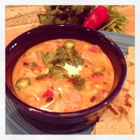 "Mel's ""Fall Round-Up"" Cheesy Chicken Enchilada Soup"