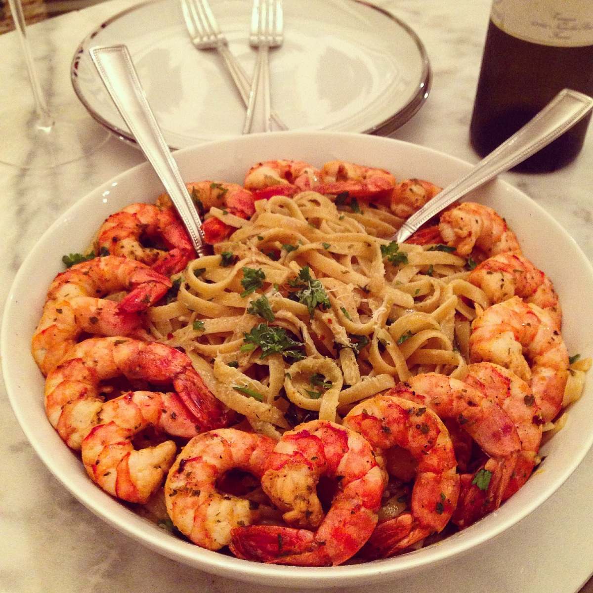 The Holiday Hustle and Spicy Shrimp Scampi Pasta…..