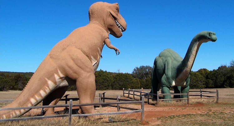 Dinosaur Statues on display at Dinosaur Valley State Park Entrance.  These statues were originally on display at the New York 1964-65 Worlds Fair. Picture from the Texas Parks and Wildlife website