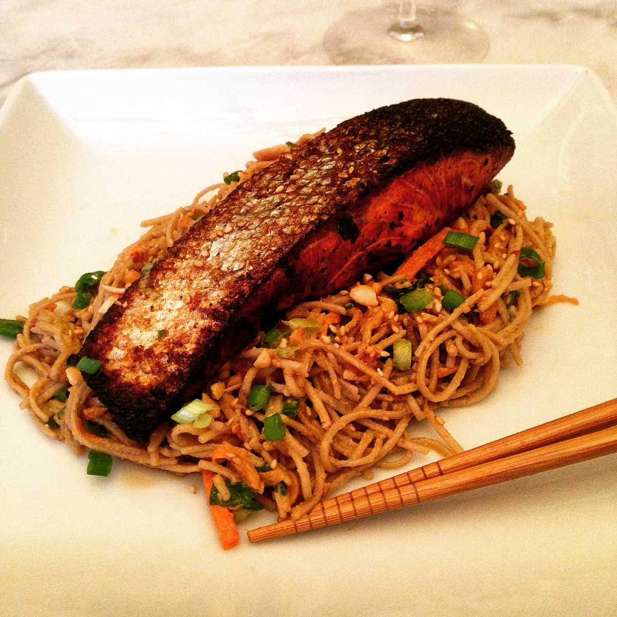 Hawaiian Huli-Huli Marinated Salmon & Spicy Peanut Soba Noodle Salad