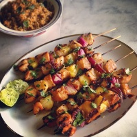 Going Hawaiian Style: Huli-Huli Chicken Skewers & Tropical Carrot Salad
