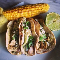 Smoked Chicken Tacos With Roasted Poblano Salsa Verde…..