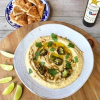 Ultra Creamy Roasted Jalapeño Garlic Hummus