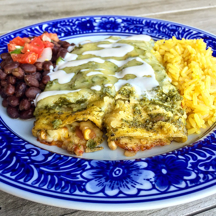Grilled Vegetable Enchiladas with Salsa Verde
