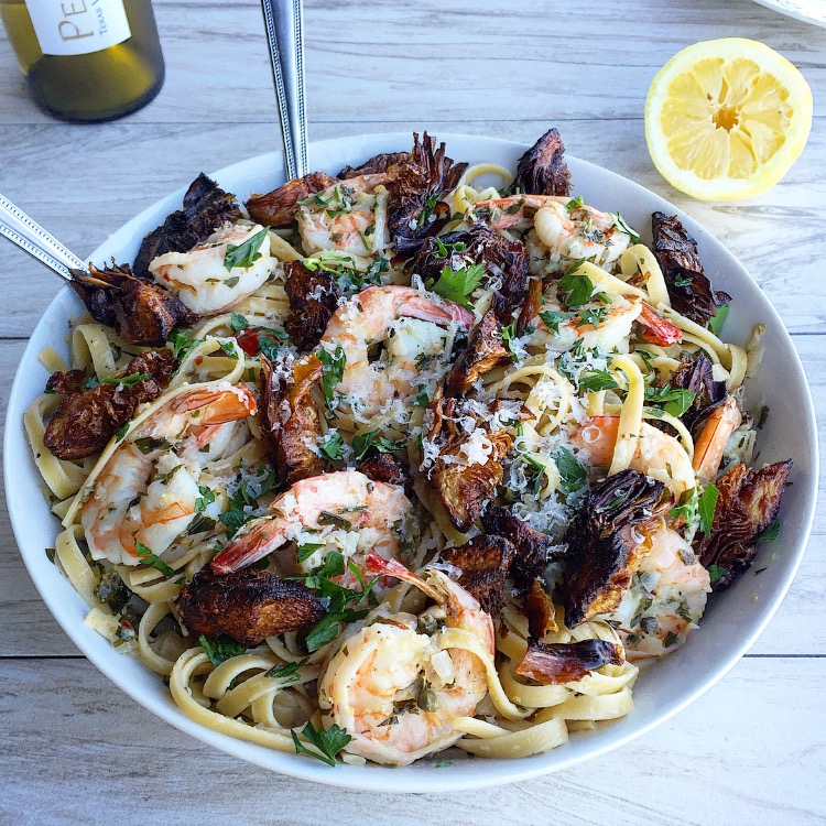 Fried Artichoke and Shrimp Pasta